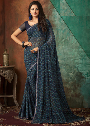 Blue Color Georgette Kitty Party Sarees : Banhi Collection YF-70813