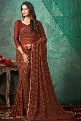 Brown Color Georgette Kitty Party Sarees : Banhi Collection YF-70814