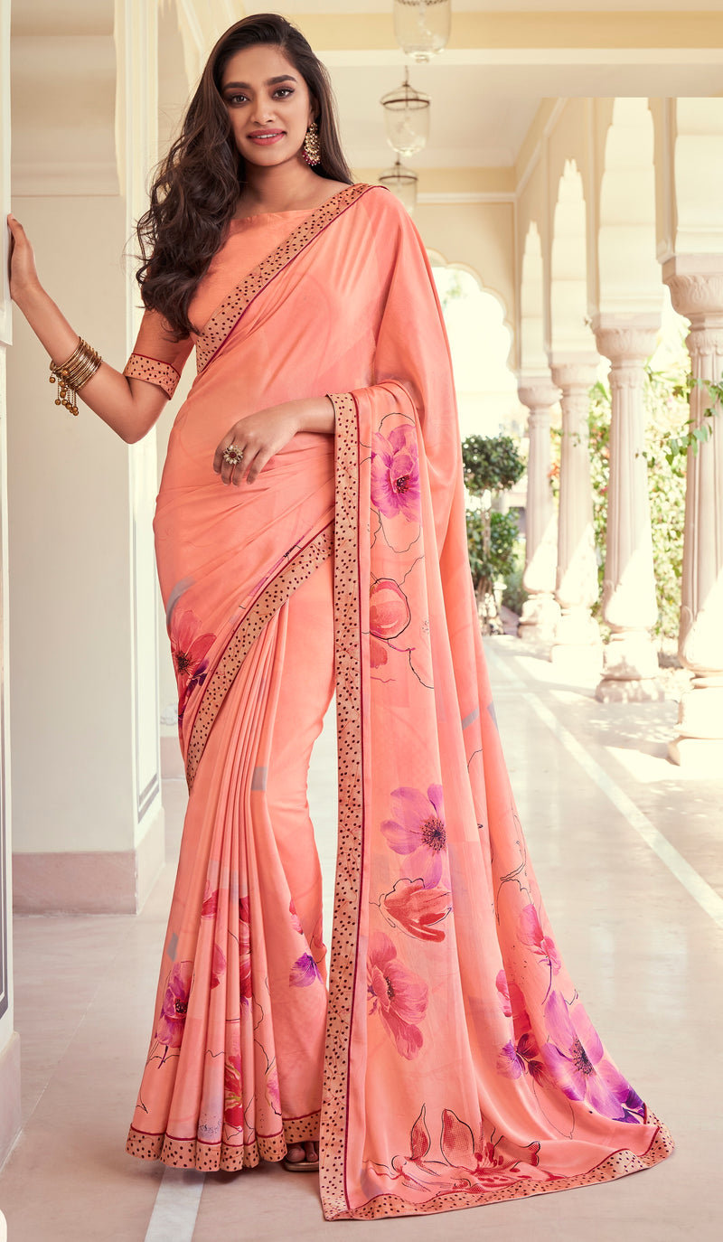 Peach Color Georgette Casual Wear Saree -   Iksha  Collection  YF#11406