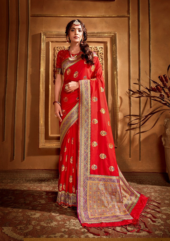 Red Color Art SilkTraditional Wear Saree Nikhita collectionYF#11743