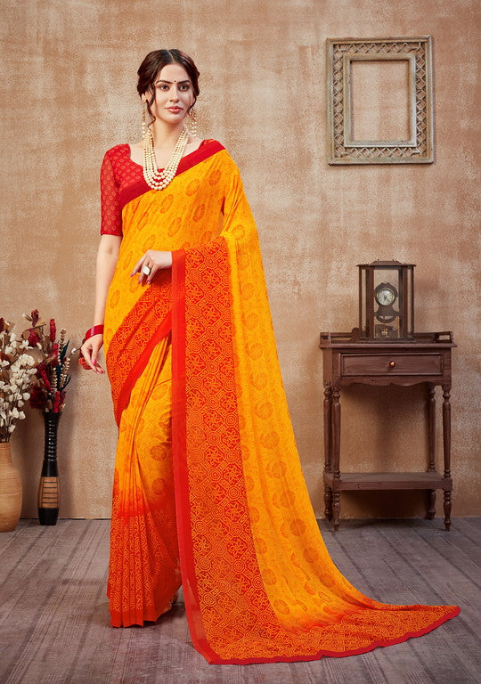 Yellow and Red Color Georgette Casual Wear Saree -  Fulki Collection  YF#10973