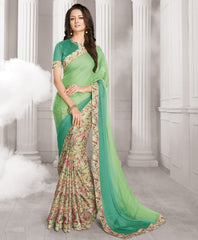 Shades Of Green Color Half Wrinkle Chiffon & Half Crepe Designer Festive Wear Sarees : Sharnika Collection  YF-52281