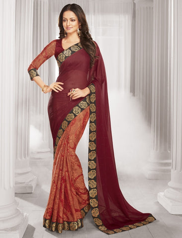 Orange & Maroon Color Wrinkle Chiffon Designer Festive Wear Sarees : Sharnika Collection  YF-52284