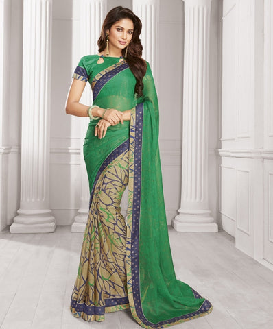 Green & Beige Color Wrinkle Chiffon Designer Festive Wear Sarees : Sharnika Collection  YF-52285