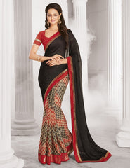 Black & Red Color Half Brasso & Half Wrinkle Chiffon Designer Festive Wear Sarees : Sharnika Collection  YF-52287