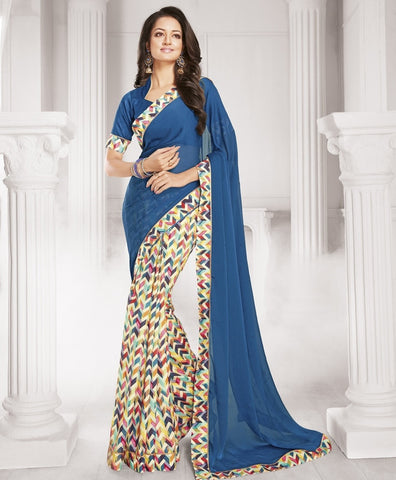 Blue & Cream Color Half Wrinkle Chiffon & Half Georgette Designer Festive Wear Sarees : Sharnika Collection  YF-52289