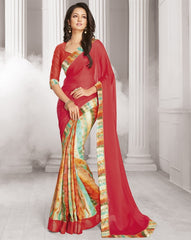 Multi Color Wrinkle Chiffon Designer Festive Wear Sarees : Sharnika Collection  YF-52292