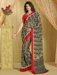 Black Color Georgette Regular Wear Sarees : Kavisha Collection  YF-28213