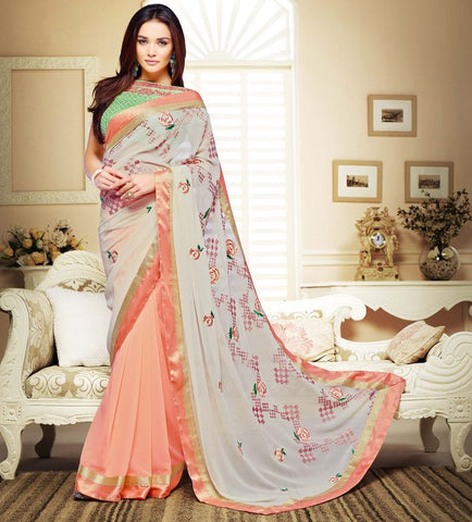 Peach Color Georgette Festival & Party Wear Sarees : Mihira Collection  YF-42893