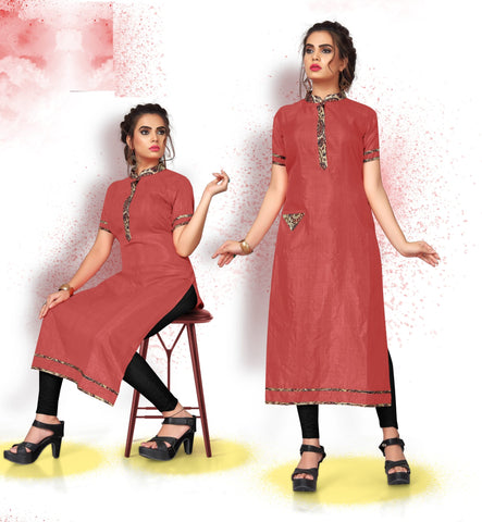 Brick Red Color Art Silk Readymade Party Wear Kurtis ( Sizes-38,40,42):  Tushika Collection YF-70497