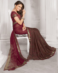 Brown & Red Color Wrinkle Chiffon Designer Festive Wear Sarees : Sharnika Collection  YF-52298