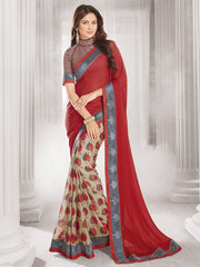 Red & Beige Color Wrinkle Chiffon Designer Festive Wear Sarees : Sharnika Collection  YF-52302