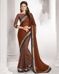 Brown Color Wrinkle Chiffon Designer Festive Wear Sarees : Sharnika Collection  YF-52305