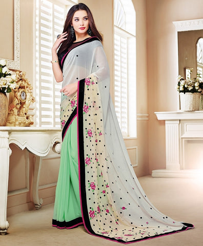 Pastel Green Color Georgette Festival & Party Wear Sarees : Mihira Collection  YF-42894