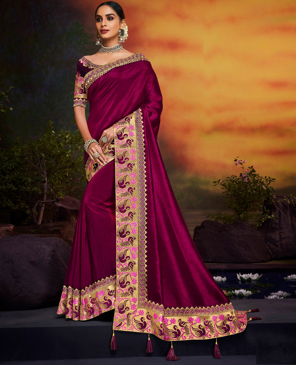 Purple Color Silk Stunning Bridal Wear Sarees NYF-4167 - YellowFashion.in
