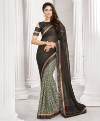 Black Color Wrinkle Chiffon Designer Festive Wear Sarees : Sharnika Collection  YF-52308