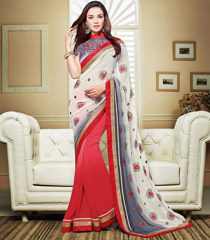Pink & Grey Color Georgette Festival & Party Wear Sarees : Mihira Collection  YF-42895