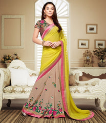 Light Coffee & Lemon Yellow Color Georgette Festival & Party Wear Sarees : Mihira Collection  YF-42896