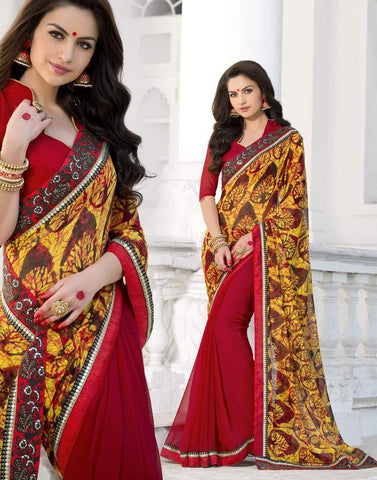 Red & Yellow Color Georgette Party Wear Sarees : Trishla Collection  YF-37986