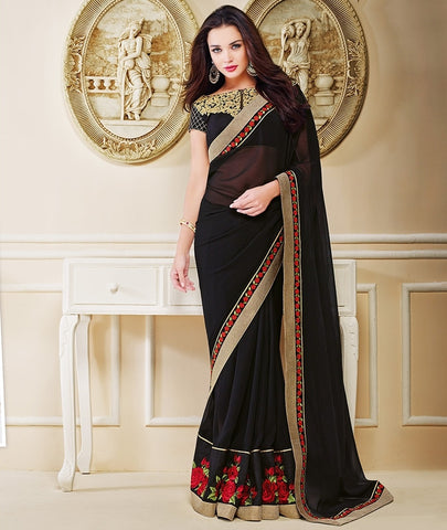 Black Color Georgette Festival & Party Wear Sarees : Mihira Collection  YF-42897