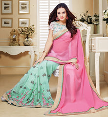 Pink & Aqua Green Color Georgette Festival & Party Wear Sarees : Mihira Collection  YF-42898