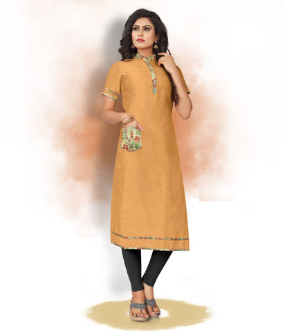 Mustard Yellow Color Art Silk Readymade Party Wear Kurtis ( Sizes-38,40,42):  Tushika Collection YF-70512
