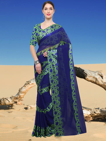 Blue Color Georgette Kitty Party Sarees : Jamini Collection YF-60854