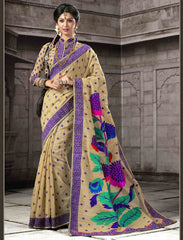 Light Coffee & Purple Color Bhagalpuri Festival & Function Sarees : Prithvi Collection  YF-32563