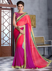 Shades Of Pink Color Georgette Function & Party Wear Sarees : Maithli Collection  YF-33512