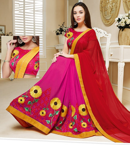 Red & Rani Pink Color Georgette Festival & Party Wear Sarees : Mihira Collection  YF-42900