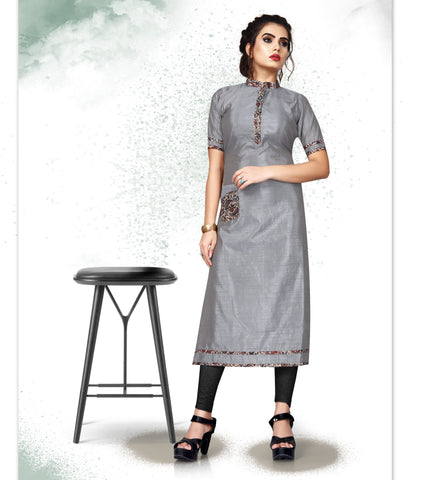 Grey Color Art Silk Readymade Party Wear Kurtis ( Sizes-38,40,42):  Tushika Collection YF-70518