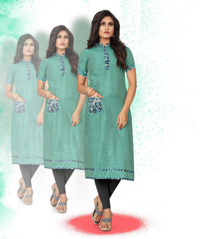 Green Color Art Silk Readymade Party Wear Kurtis ( Sizes-38,40,42):  Tushika Collection YF-70521