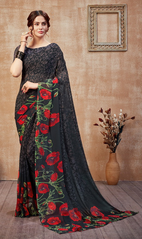 Greyish Black Color Georgette Casual Wear Saree -  Fulki Collection  YF#10974