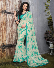 Cream & Green Color Georgette Kitty Party Sarees : Guldasta Collection  YF-39986