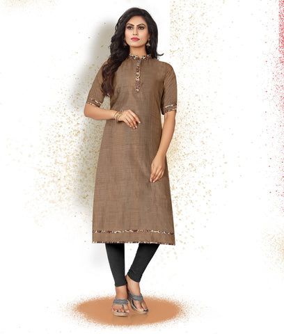 Brown Color Art Silk Readymade Party Wear Kurtis ( Sizes-38,40,42):  Tushika Collection YF-70524