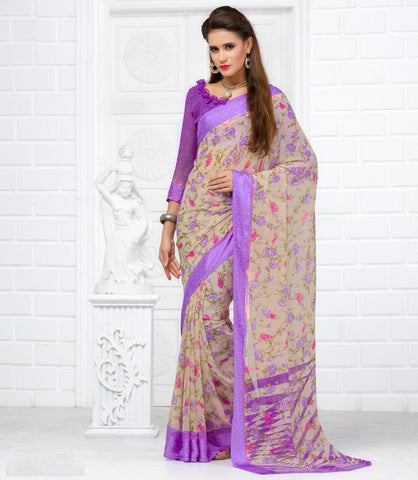 Lavender Color Georgette Casual Wear Sarees : Olena Collection  YF-43844