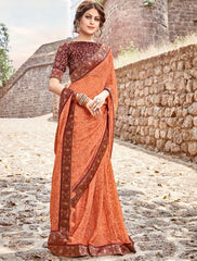 Orange Color Georgette Party Wear Sarees : Arunima Collection  NYF-2874