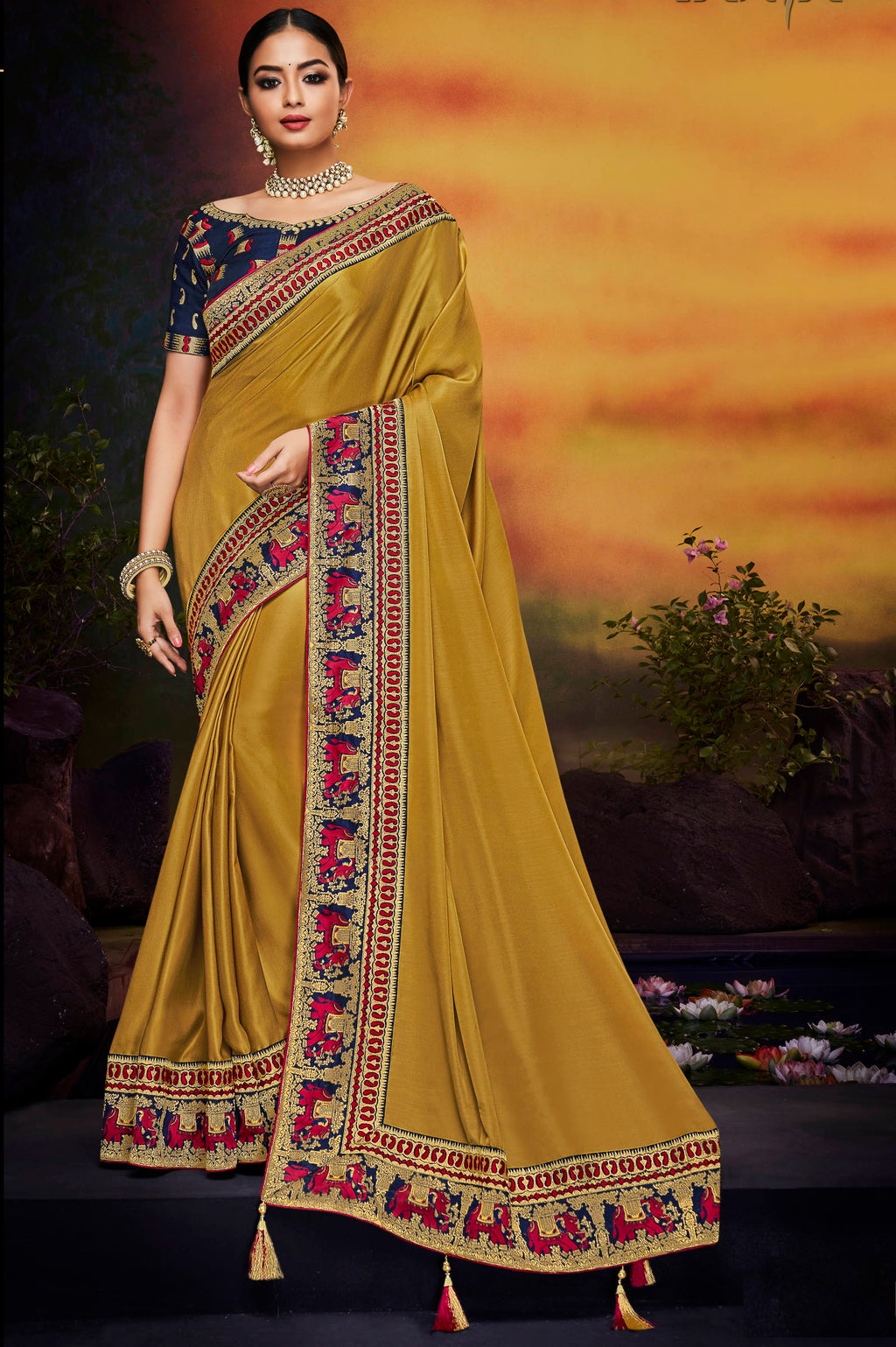Golden Color Silk Stunning Bridal Wear Sarees NYF-4177 - YellowFashion.in