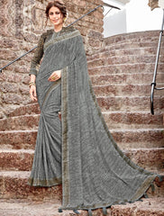 Grey Color Georgette Party Wear Sarees : Arunima Collection  NYF-2875