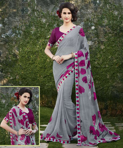 Grey & Pink Color Georgette Casual Wear Sarees : Kalpita Collection  YF-40433