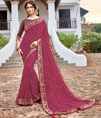 Pink Color Georgette Party Wear Sarees : Arunima Collection  NYF-2876