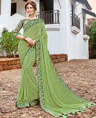 Mehendi Green Color Georgette Party Wear Sarees : Arunima Collection  NYF-2877