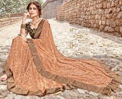 Orange Color Georgette Party Wear Sarees : Arunima Collection  NYF-2879