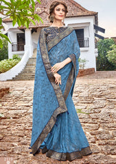 Blue Color Georgette Party Wear Sarees : Arunima Collection  NYF-2880