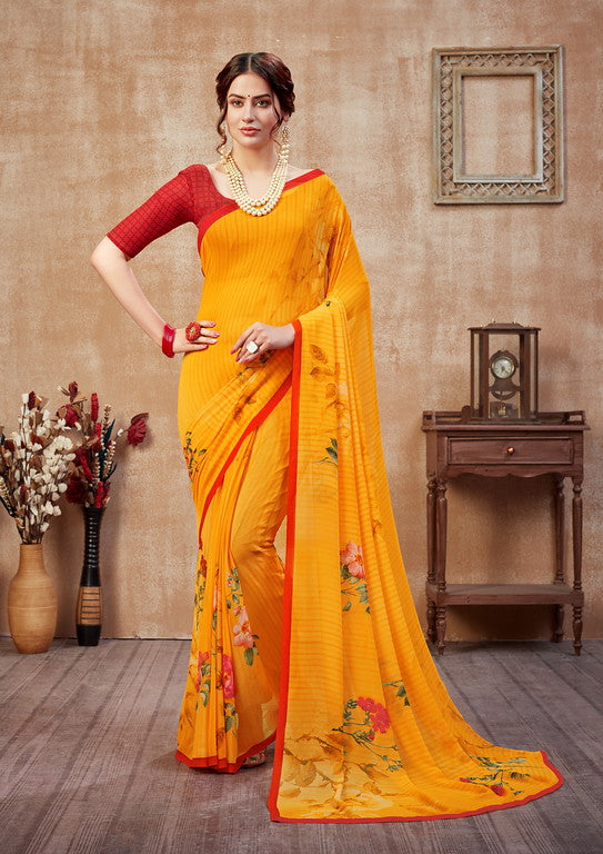 Yellow and Red Color Georgette Casual Wear Saree -  Fulki Collection  YF#10975