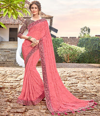 Pink Color Georgette Party Wear Sarees : Arunima Collection  NYF-2881