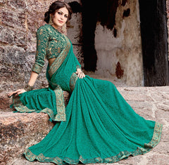 Rama Green Color Georgette Party Wear Sarees : Arunima Collection  NYF-2882