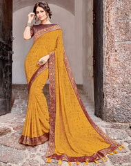 Yellow Color Georgette Party Wear Sarees : Arunima Collection  NYF-2883