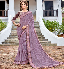 Lavender Color Georgette Party Wear Sarees : Arunima Collection  NYF-2884