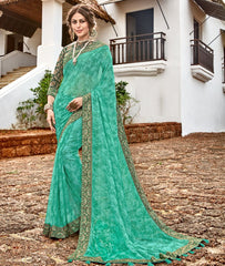 Green Color Georgette Party Wear Sarees : Arunima Collection  NYF-2885